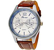 Herren-Leder-Band runden Zifferblatt Quarz Analog Armbanduhr (verschiedene Farben)