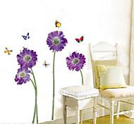 1PCS Красочные бабочки над цветами к окружающей среде Стикер стены