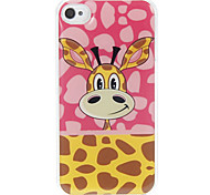 Pink Background Giraffe Pattern Epoxy Hard Case for iPhone 4/4S