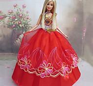 Barbie Doll Red Lace stile cinese Abito da sposa