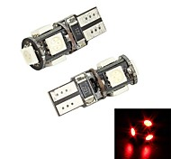 Merdia T10 5 x 5050 Red Light Decodificación SMD LED de la placa del carnet de conducir Light / Light Reading (par / 12 V)