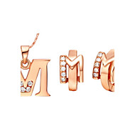 Alphabet Letter M Gold Silver Plated (Necklaces&Earrings) Wedding Jewelry Sets