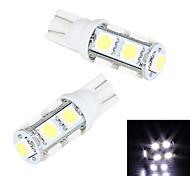 Merdia T10 9 SMD 5050 LED a luce bianca della targa di immatricolazione / Lampada Instrument (2 PCS/12V)