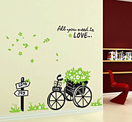1pcs bicicleta removível colorido com adesivo de parede flor