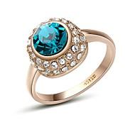 Shining Austria Crystal Blue Zircon Diamond Ring