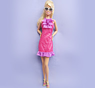 Barbie-Puppe Rose Red Lace Side Kleid