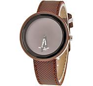 Ronde des femmes Dial Pu Band Quartz analogique montre-bracelet