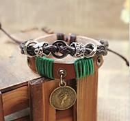 Vintage-20cm Männer braune Lederbettelarmband (1 PC)