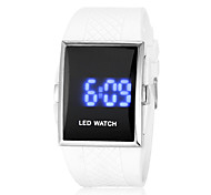 Unisex Blue LED Digital White Rubber Band Faceless Watch