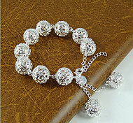 Lureme®925 Sterring Silver Plated Hollow Out Ball Bracelet