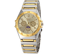 Men's Gold Dial Steel Band Quartz Wrist Watch Cool Watch Unique Watch