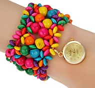 Women's Colorful Wood Band Quartz Bracelet Watch