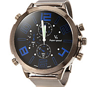 Men's Big Dial Design Round Dial Alloy Band Quartz Analog Fashion Watch Cool Watch Unique Watch