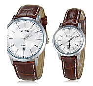 Couple's Business Style Leather Band Quartz Wrist Watch (Assorted Colors)