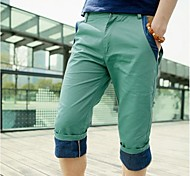Verão Contraste recortada Casual Masculino Cor Shorts (Exceto Prec)