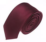 Solide Couleur Mode vin rouge étroite microfibre cravate des hommes