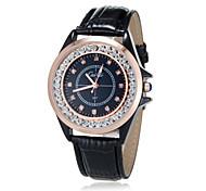 Unisex Analog Diamante Round Dial PU Band Quartz Analog Fashion Watch (Assorted Color)