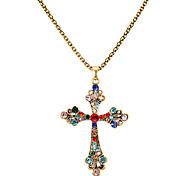 Vintage Multicolor (Cross) collana del pendente della lega di oro (1 Pc)