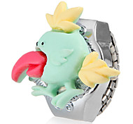 Girl's Cute Bird Cover Silver Alloy Quartz Ring Watch (Assorted Colors)