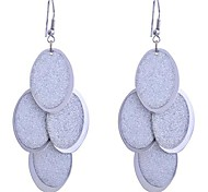 Lureme®Glitter Oval Shape Dangle Earrings