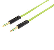 YG-35 3.5mm Male to Male Audio Connection Flat Cable (Green&Black, 1M)