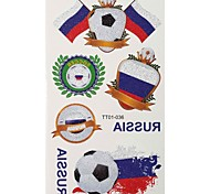 2PCS Football Pattern Russia World Cup Waterproof Tattoo Body Temporary Glitter Stickers