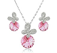 18K White Gold Plated Shining Austria Crystal Butterfly Necklace Earrings Jewelry Sets