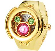 Frauen Kristall Cover Gold-Legierungs-Quarz-Ring-Uhr