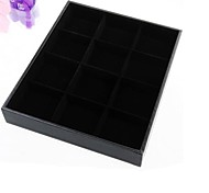 Fashion Velvet 12 Compartment Jewelry  Display Tray For Showcase (Black) (1pc)