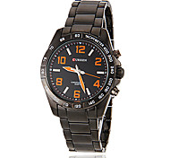 Men's Color Number Round Dial Alloy Band Quartz Analog Sport Watch (Assorted Color)