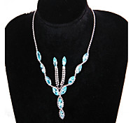 Fashion Silver Silver-Plated(Includes Necklace&Earrings)Jewelry Set(Blue)