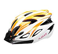 fjqxz eps + pc arancione e bianco casco in bicicletta integralmente modellata (18 aperture)