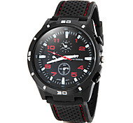 Men's Racing Style Black Case Silicone Band Quartz Wrist Watch (Assorted Colors)