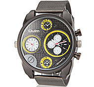 Herren Dual Time Zones runden Zifferblatt Steel Band Quarz Analog Fashion Watch (Farbe sortiert)