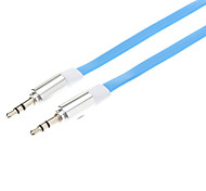 3.5mm Male to Male Audio Connection Flat Cable (Blue, 1m)