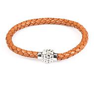 Brown strass pulseira de couro 22 centímetros Europeu das Mulheres (1 Pc)