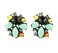 2014 New Coming Tide Restoring Ancient Design Colorful Gemstone Stud Earring