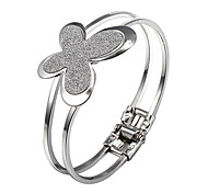 Di Sweet Butterfly Glitter 18 centimetri donne della lega d'argento Bangle (1 Pc)