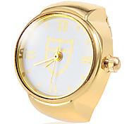 Frauen-Schild Muster Gold-Legierungs-Quarz-Ring-Uhr