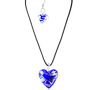 Sweet Heart-shape Translucent Acrylic (Necklaces&Earrings) Crystal Jewelry Sets(Blue,Purple)