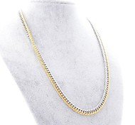 Fashion Half Golden and Half Silvery Titanium Steel Chain Necklace