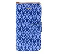 Patrón de Kinston azul perlas Fan PU Leather Case cuerpo completo con soporte para iPhone 5/5S