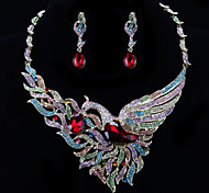 Fashion Peacock Diamond Jewelry Set(Necklace,Earrings)