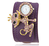 Women's Crystal Fox Decor Purple PU Band Bohemia Style Wrist Watch