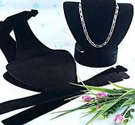 Fashion Plastic Busto Plegable cuello del soporte de exhibición para el collar (Negro) (1 unidad)