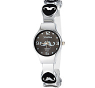 Women's Cute Mustache Pattern Round Dial Alloy Band LCD Digital Fashion Watch (Assorted Color) Cool Watches Unique Watches