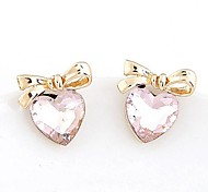 Korean Fashion Boutique Bow Sweet Temperament Personality Crystal Heart Earrings