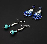 Cheap Green Lantern Resin Drop Earrings+Blue Rhinestone Drop Earrings(2 pairs)