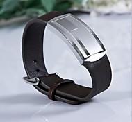 brun en acier inoxydable 316L gommage bracelet en cuir de la mode des hommes