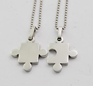 Fashion Silver Jigsaw Couple Titanium Steel Pendant Necklace